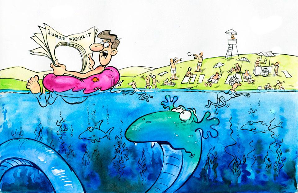 Karikatur der Woche 34/Journalistenschreck Sommerloch: 14