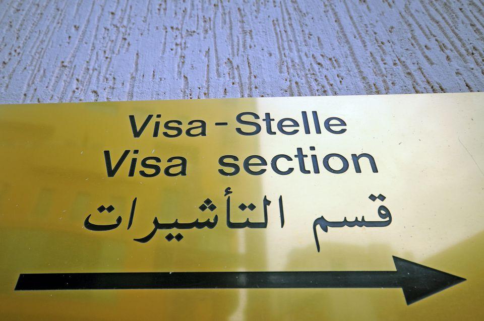 Visa-Hinweisschild