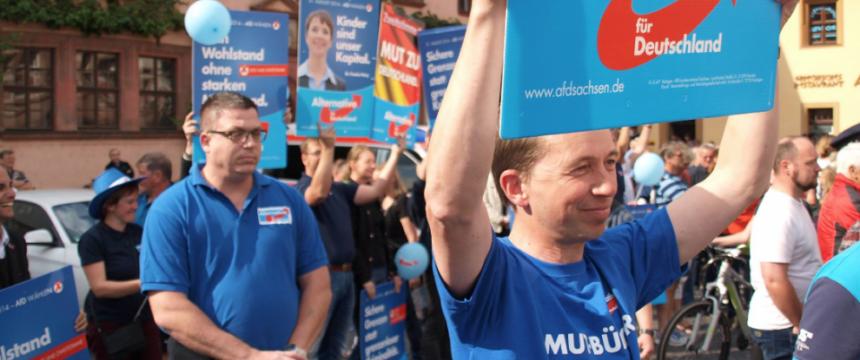 Bernd Lucke im sächsischen Wahlkampf: Die Zukunft der Partei steht auf Messers Schneide Foto: AfD-Erzgebirge