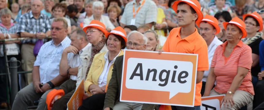 CDU-Anhänger von Bundeskanzlerin Angela Merkel im Wahlkampf Foto: picture alliance / ZB