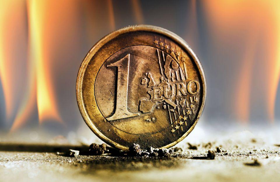 Schmelzende Euro-Münze