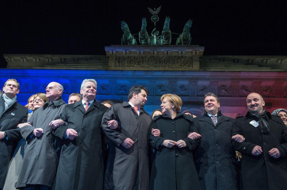 Joachim Gauck, Aiman Mazyek und Angela Merkel