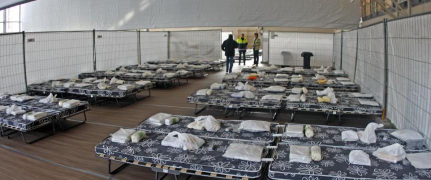 Notunterkunft in Rosenheim für Asylbewerber aus dem Kosovo Foto: picture alliance / dpa