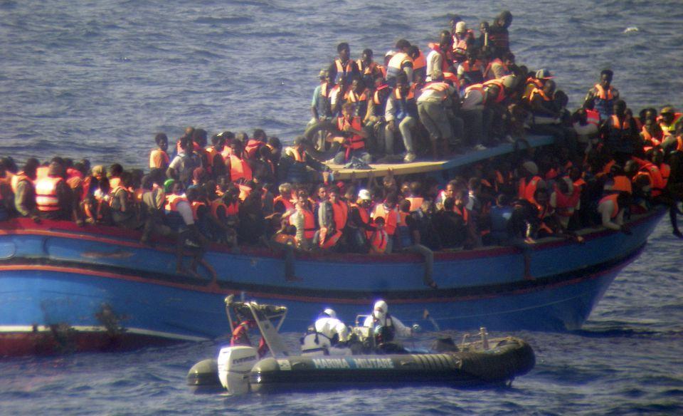 Einwandererboot im Mittelmeer
