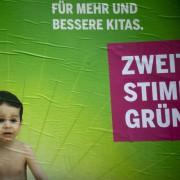 Wahlplakat der Grünen: Niemand mag zurücktreten Foto: picture alliance