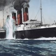 Torpedierung der Lusitania (Zeichnung): Ein Ereignis der Zeitgeschichte Foto:  picture alliance/Everett Collection