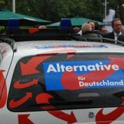 AfD-Werbefahrzeug: Streiten bis der Arzt kommt Foto: JF