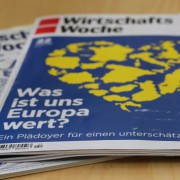 Aktuelle Ausgabe der Wirtschaftswoche: Werbefilmchen für die EU Foto: JF