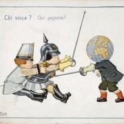 """""""Wer wagt, gewinnt"""": Die Welt gegen den Zweibund (rechts das neutrale Italien): Propagandakarte um 1914/15 Foto: picture alliance/akg-images"""