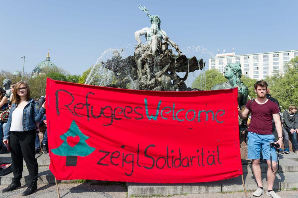 Linke Demonstration für Asylbewerber