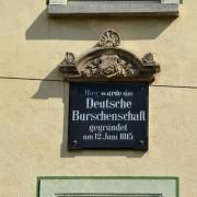 """Gedenktafel am Gasthof """"Grüne Tanne"""": Spontibewegung selbstbewußter Studenten Foto:  picture alliance / Universität Jena"""