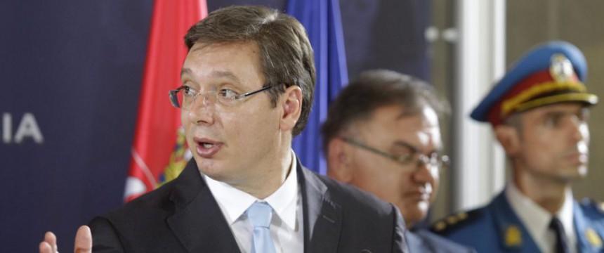 Serbiens Premierminister Aleksandar Vucic: Das sind keine Asylbewerber Foto: picture alliance/dpa