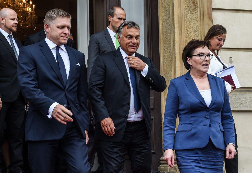 Der Slowakische Regierungschef Robert Fico, Ungarns Premier Viktor Orban und die polnische Ministerpräsidentin Ewa Kopacz