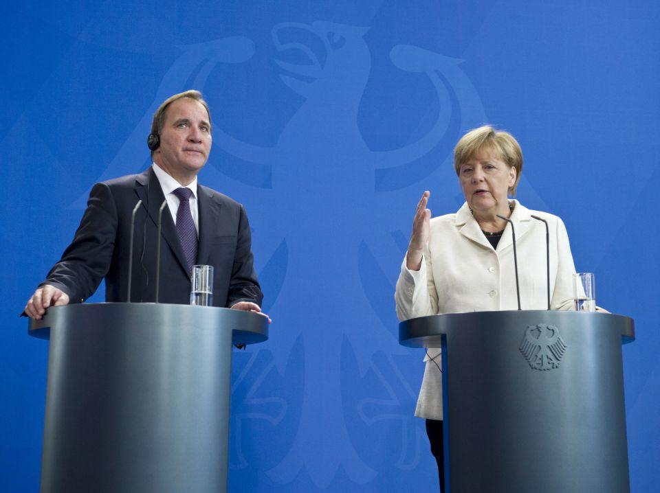 Ministerpräsident Stefan Löfven und Angela Merkel