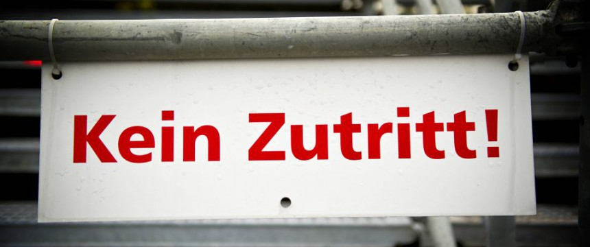 Zutritt verboten (Symbolfoto): AfD kritisiert Stornierungen Foto:  picture alliance/blickwinkel