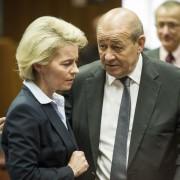 Die deutsche VerteidigungsministerinUrsula von der Leyen (CDU) und ihr französischer Amtskollege Jean-Yves Le Drian Foto: picture alliance/ZUMA Press