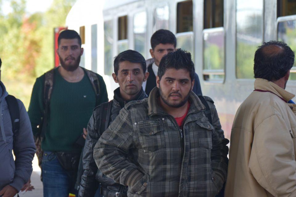 Asylbewerber bei ihre Ankunft in Berlin Foto: rg