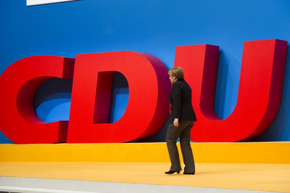 Angela Merkel auf dem CDU-Bundesparteitag 2015 Foto: picture alliance / Sven Simon
