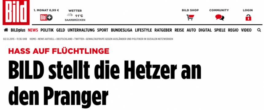 """Kampagne auf der Internetseite der """"Bild""""-Zeitung Quelle: bild.de/Auschnitt: JF"""