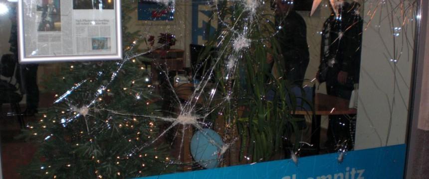 Angegriffenes AfD-Büro Foto: AfD-Sachsen