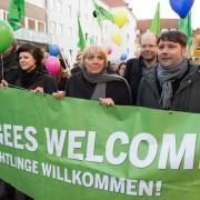 Claudia Roth auf der Demonstration gegen den AfD-Bundesparteitag Foto: picture alliance/dpa