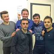 AfD-Politiker Andreas Strixner (Mitte hinten) mit vier von ihm betreuten Asylsuchenden Foto: privat
