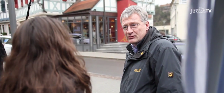 AfD-Sprecher Jörg Meuthen im Wahlkampf Foto: JF