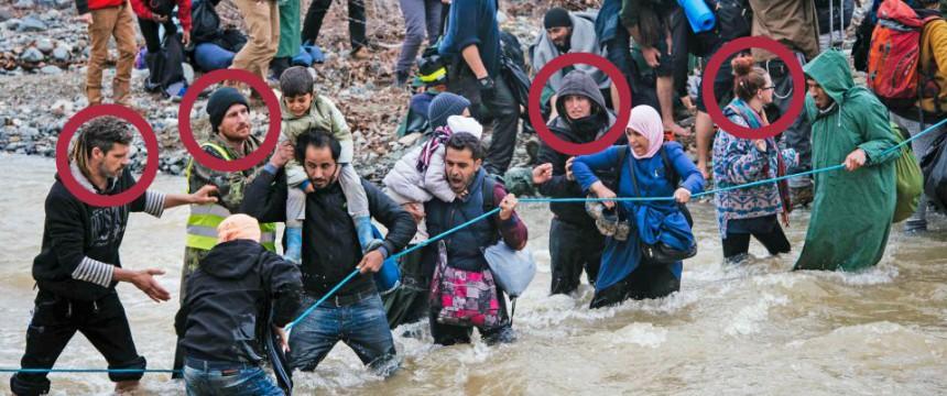 Flußüberquerung bei Idomeni Foto: picture alliance/dpa; Markierung: JF