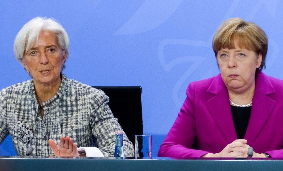 Lagarde (l) und Merkel (2015)