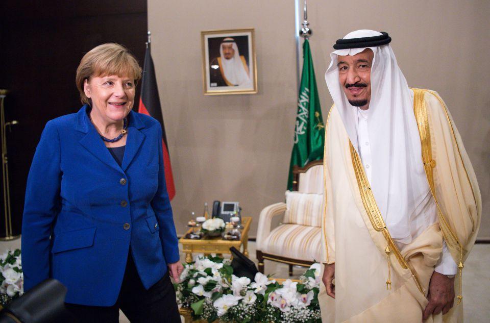 Angela Merkel und der Saudische König Salman ibn Abd al-Aziz
