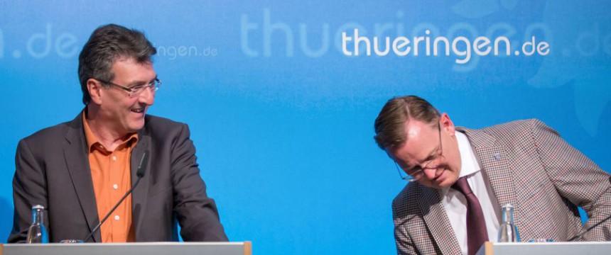 Thüringens Migrationsminister Dieter Lauinger (Grünen) und Thüringens Ministerpräsident Bodo Ramelow (Linke) Foto: dpa (via Junge Freiheit)