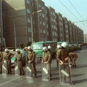 Polizei im Herbst 1991 in Ausschreitungen in Hoyerswerda: Verstellter Blick Foto: picture-alliance/ZB