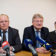 Jörg Meuthen (M), neben den Landtagsabgeordneten Emil Sänze (l) und Rüdiger Klos (r) Foto: dpa