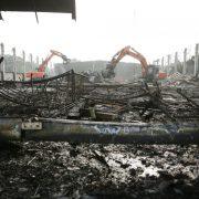 Abgebrannte Flüchtlingsunterkunft in Düsseldorf Foto: picture alliance/dpa