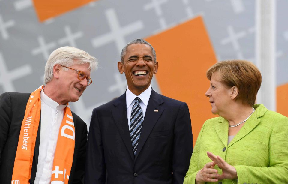 Bedford-Strohm, Obama und Merkel
