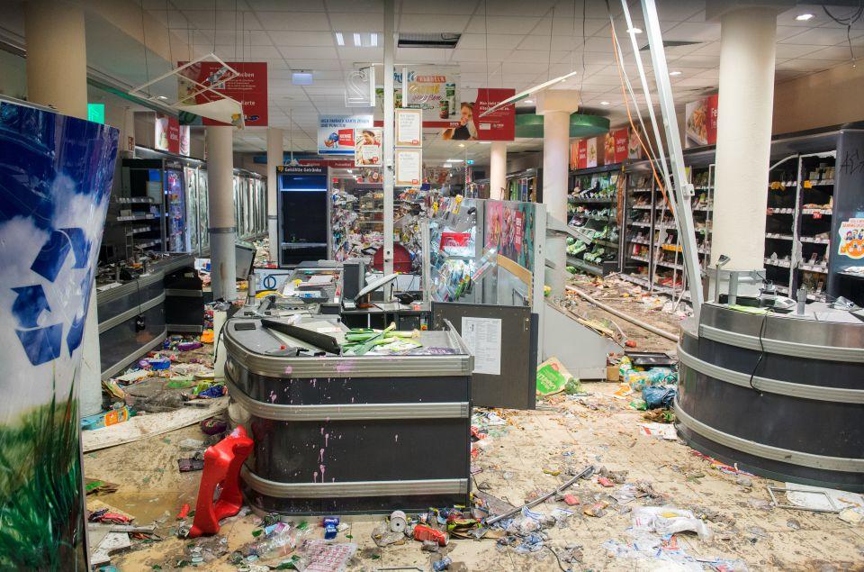 Verwüsteter Supermarkt in Hamburg