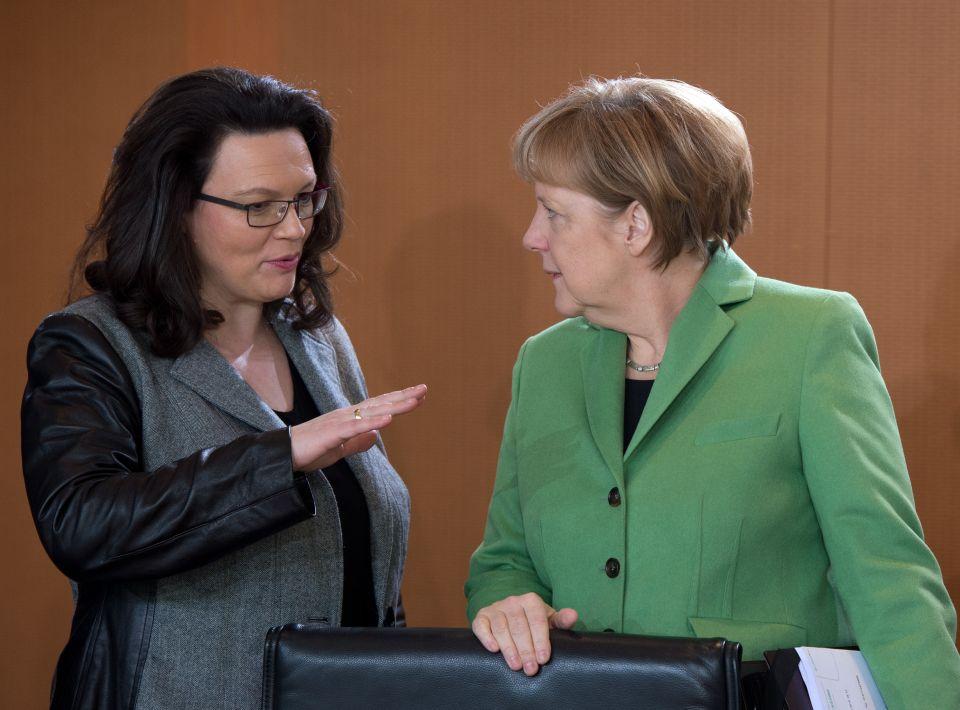 Andrea Nahles (SPD) und Angela Merkel (CDU)