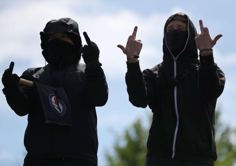 Linke Demonstranten