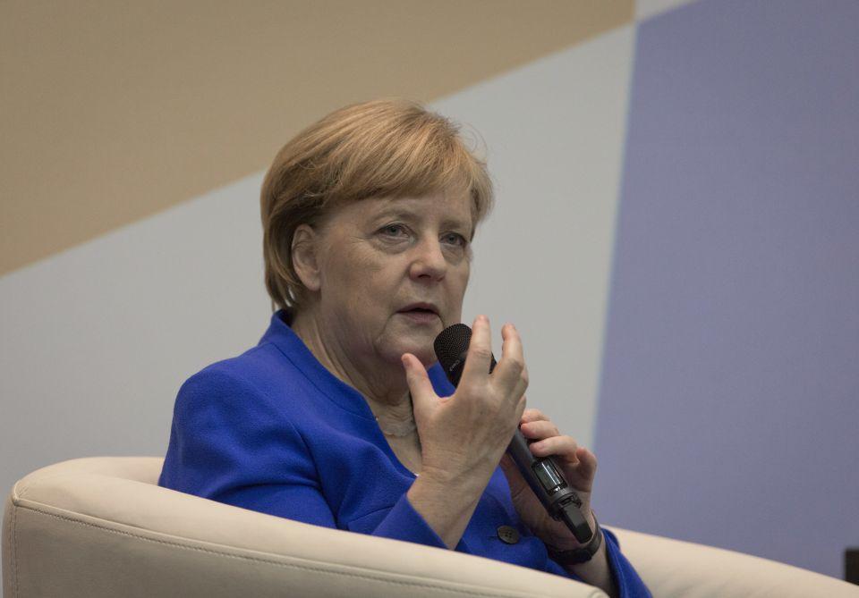 Angele Merkel in der Universität Amman