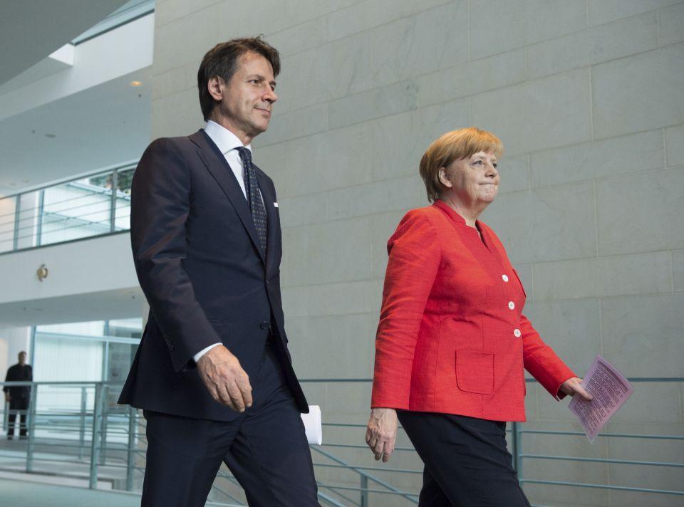 Giuseppe Conte und Angela Merkel