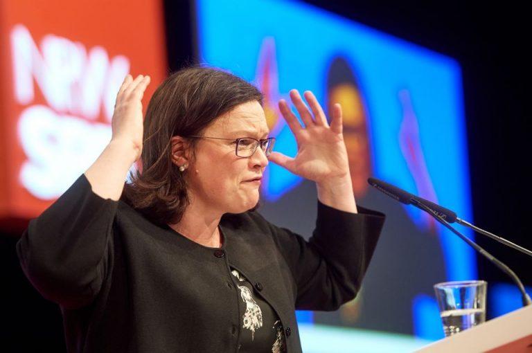 Andrea Nahles (SPD) auf dem Landesparteitag in Bochum