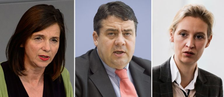 Katrin-Göring Eckardt, Sigmar Gabriel und Alice Weidel