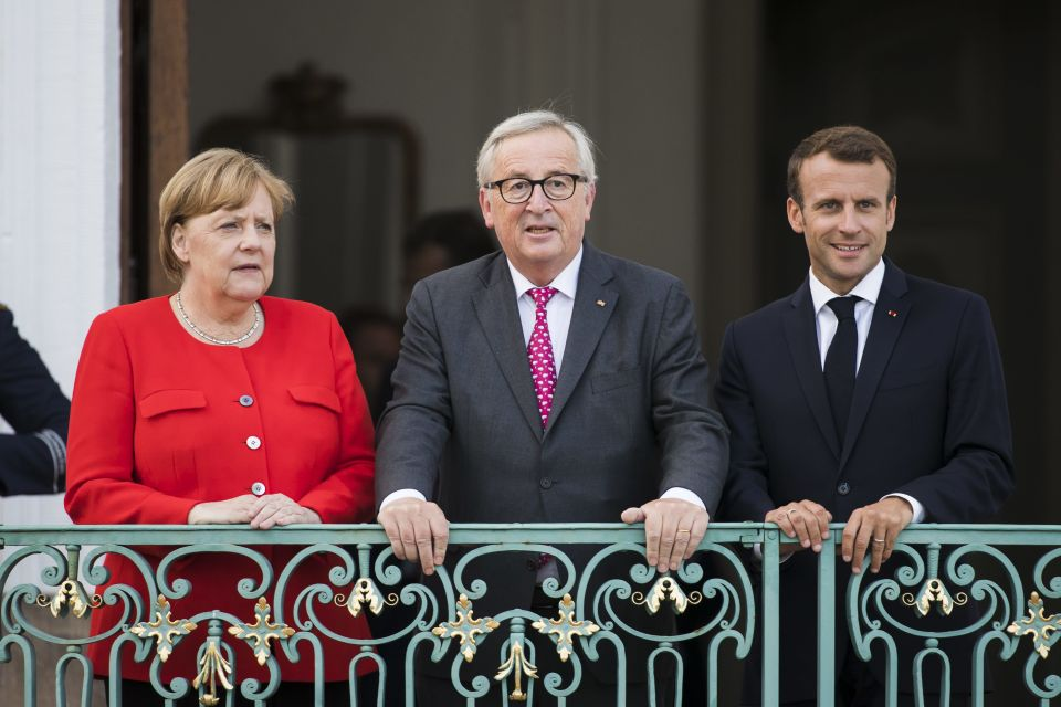 Angela Merkel, Jean-Claude Juncker, und  Emmanuel Macron
