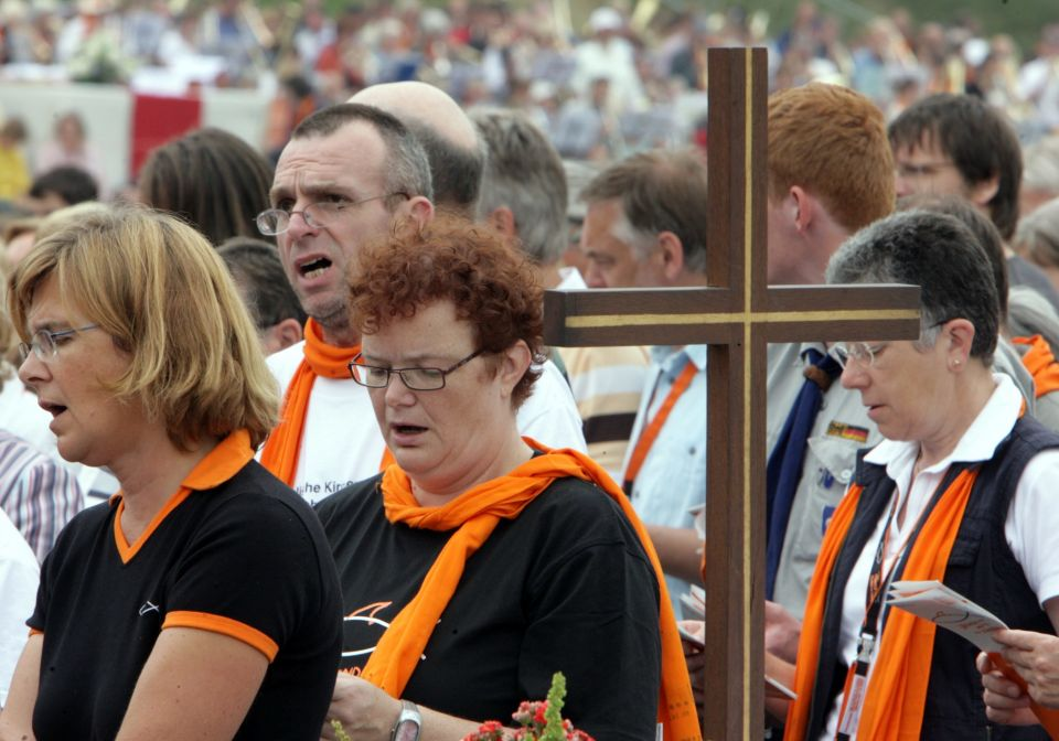 Gläubige auf dem Evangelischen Kirchentag