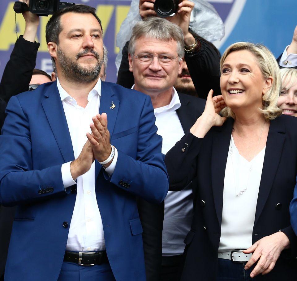 Matteo Salvini (l.), Jörg Meuthen und Marine Le Pen