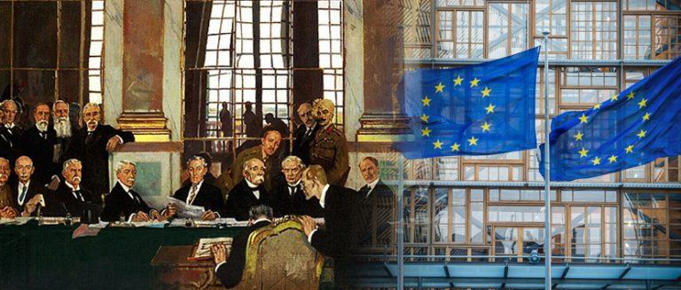 Versailles-Unterzeichnung und EU-Fahnen