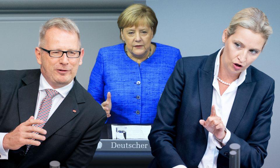 Johannes Kahrs, Angela Merkel und Alice Weidel