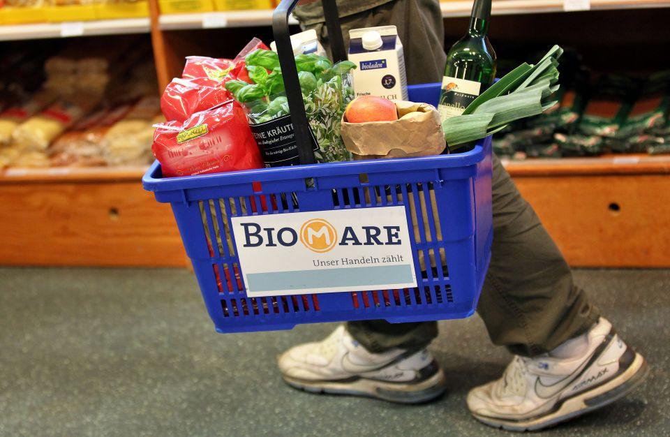 Einkaufskorb im Biomare-Lade