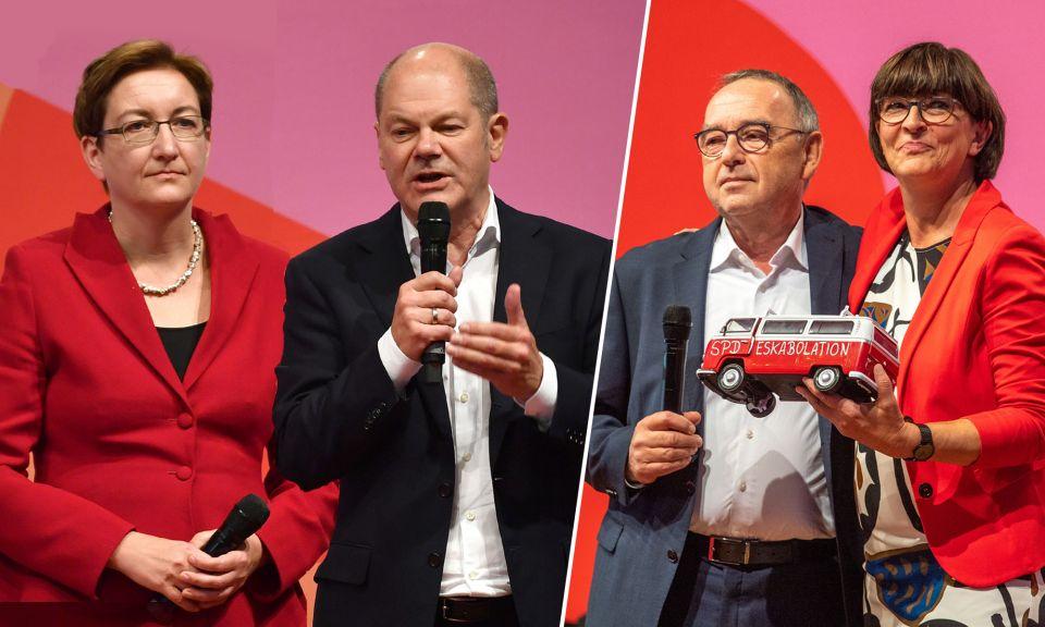 Klara Geywitz und Olaf Scholz sowie Saskia Esken und Norbert Walter-Borjans
