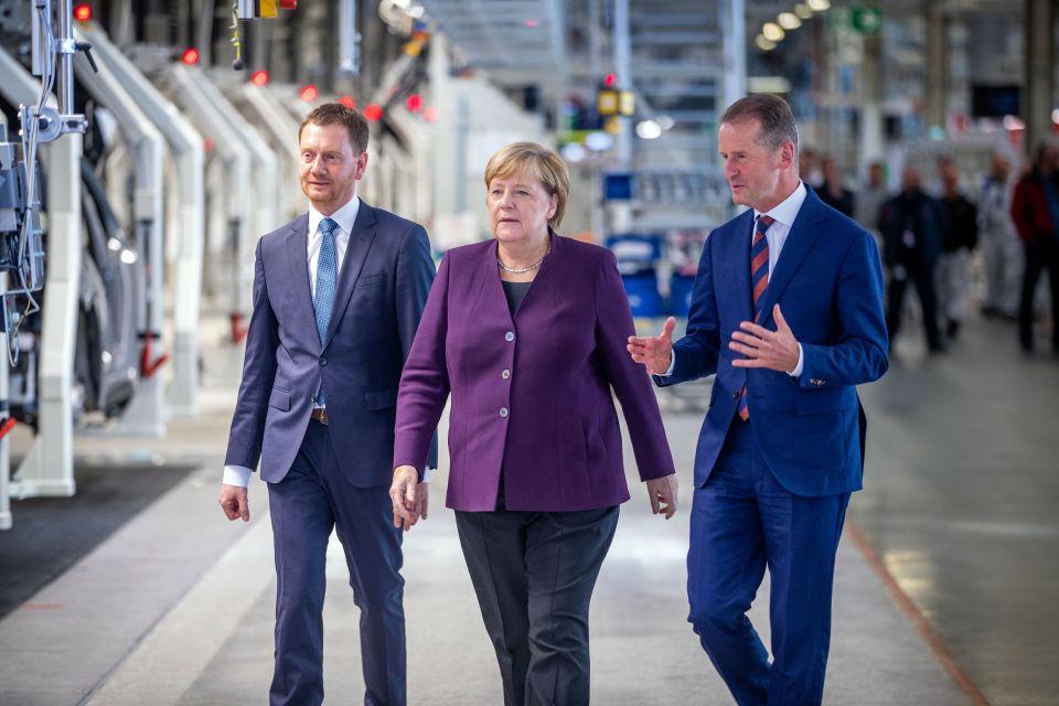 Michael Kretschmer, Angela Merkel und Herbert Diese